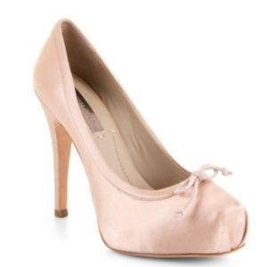 BCBG blush satin ballerina pumps